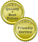 Quality and Friendly Service Golden Sticker